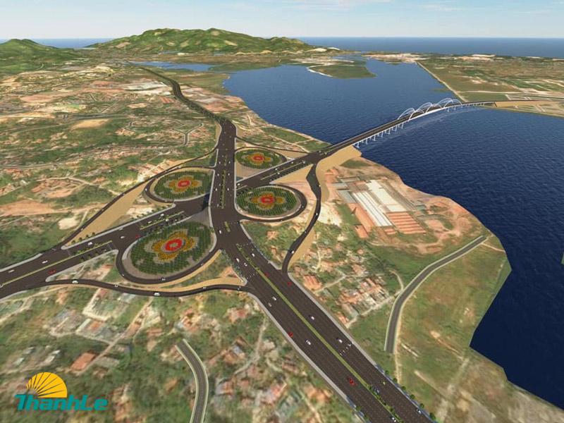 Phối cảnh tuyến dự án và nút giao với đường dẫn cầu Cửa Lục 1.