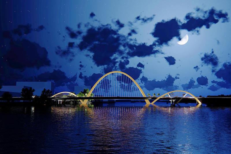 Phối cảnh Cầu Cửa Lục 3 vào buổi tối